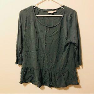 Loft Long Sleeve Green Blouse 275